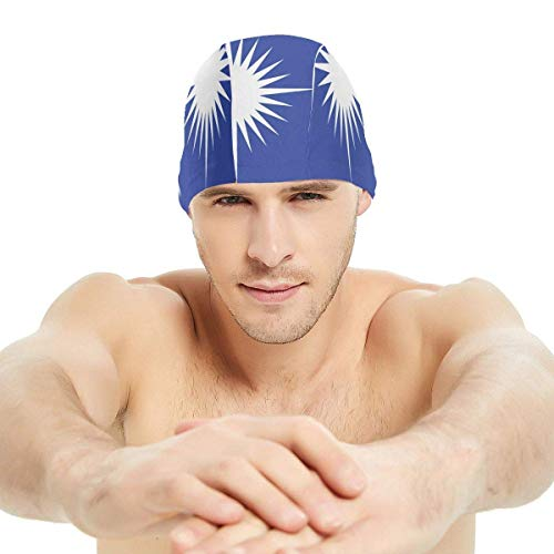 Gebrb Marshall Islands Flag Lycra Cuffie da Nuoto,Cuffie da Bagno,s Bathing And Shower Hair Cover Ear Protection for Long Hair & Thick Hair & Curly Hair, Easy to Put On And off