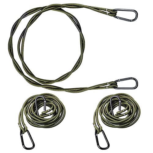 3 Pieces Bungee Clothesline Travel Compact Clothesline with Hooks Portable Elastic Balcony Clothesline for Camping Boaters Hikers Travelers Balcony Laundry Clothes, 1.2 m, Green