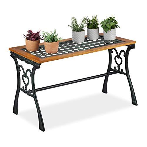 Relaxdays Gartentisch rechteckig, Outdoor, Vintage-Design, Holz & Gusseisen, HBT 58x98x47 cm, Balkontisch, Natur-schwarz, H x B x T: ca. 58 x 98 x 47 cm