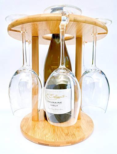 4evergreen Weinglashalter für 6 Weingläser und 1 Flasche Wein, aus 100% natürlichem Bambus, kann in der Küche, auf dem Esstisch oder Bar platziert werden, umweltfreundlich und nachhaltig