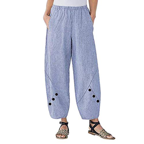 CCatyam Plus Size Pants for Women, Harem Trousers Stripe Button Wide Leg Print Casual Fashion Blue