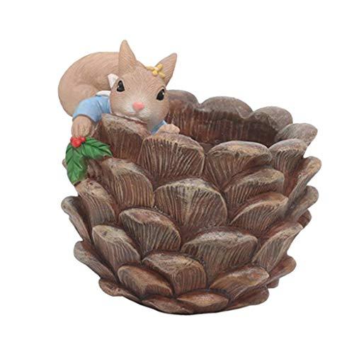 joyMerit Vaso per Piante Succulente, Vaso da Fiori in Resina con Design Creativo degli Animali - Pigna