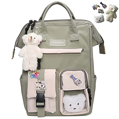 2021 New Kawaii Backpack with Kawaii Pin Cute Accessories Backpack Kawaii Rucksac, High Capacity Cute Aesthetic Backpack for School Travel Work (Green)