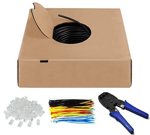 305m Outdoor Netzwerkabel Set | CAT 6 | Lankabel Patchkabel Internetkabel Verlegekabel Installationskabel | U/UTP | inkl. 1x Crimpzange, 100x Kabelbinder, 100x RJ45 Stecker | 305 Meter