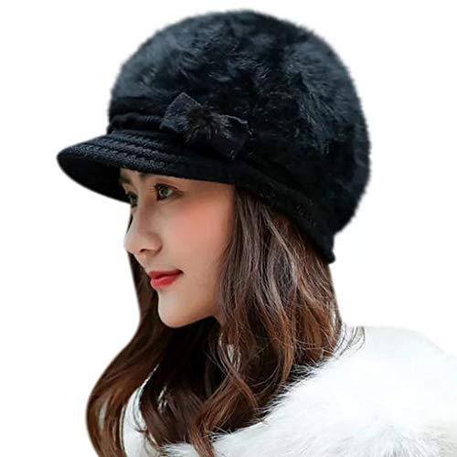 Cotson Women's Warm Wool Furr Skull Cap (Inside Fur) (Black)