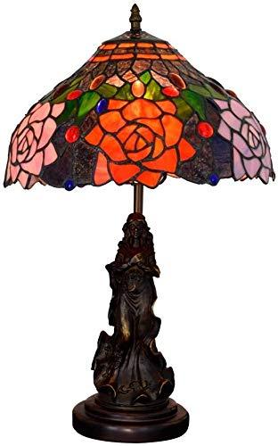 AWCVB Lámpara De Mesa Nightstand Lámparas 12'Lámpara De Escritorio Jardín Retro Americano Rosa Sala De Estar Salón Salón Dormitorio Lámpara De Contador De Interior
