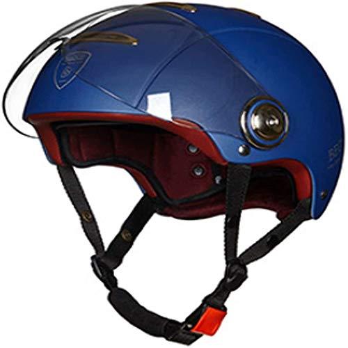 ZHXH Motorrad Harley Halbhelm Sommer Unisex Kleiner tragbarer Roller 3/4 Open Face Helm/Punkt Zugelassen,