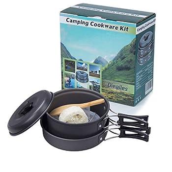 Diealles Kit de Cuisine en Camping, Ustensiles de Cuisine de Camping pour Camping, Pique-Nique,BBQ, Randonnée, Pédestre,Anti-adhésifs pour 1-2 Personnes