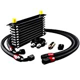 EONLION 10 Row AN10-10AN Oil Cooler Kit Universal Engine Transmission Aluminium Alloy Black Usable To Cool Down Engine Oil Increases Engine Oil Capacity Available Comes with 2 Oil Lines