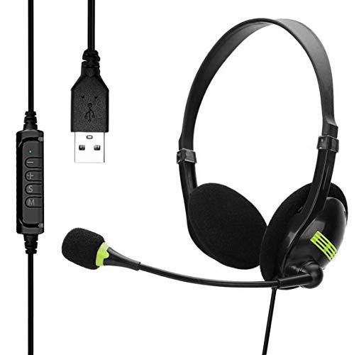 USB-Headsets mit Mikrofon und Inline-Audio-Steuerung, Rauschunterdrückung, kabelgebunden, Breitband-PC-Kopfhörer für Business, UC, Skype, Lync, Softphone, Call-Center, Büro, Computer, Ultra Komfort