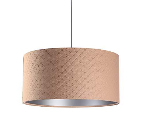 BPS Koncept Glamour E27 Mokai - Lámpara de techo colgante (40 cm de diámetro), diseño de rombos, color salmón