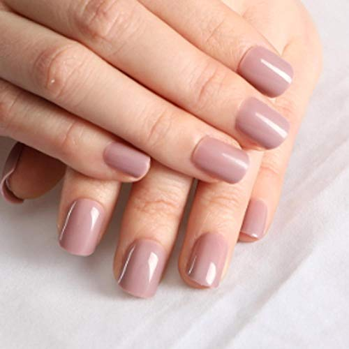 CSCH Faux ongles Couleur des femmes à la mode False Nails Short Round Tip Brown Light