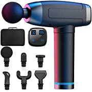 Massage Gun Deep Tissue, WELTEAYO Quiet Professional Handheld Muscle Percussion Massager, 30 Speeds, 6 Heads, LCD Display, for Fitness Recovery, Pain Relief, Trigger Point Percussive Therapy, Black