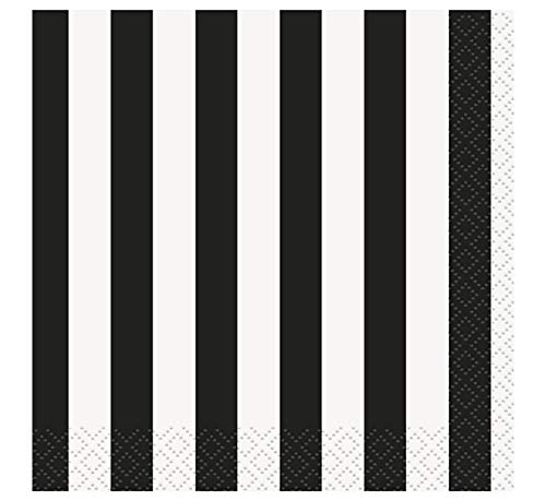 Unique Party - Servilletas de Papel - 13 cm - Diseño de Rayas Negras - Paquete de 16 (38051)