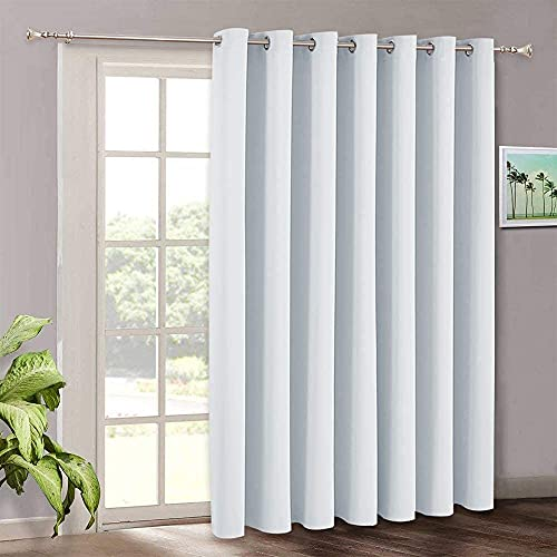 Room Darkening Bedroom Curtains - Vertical Blinds for Sliding Glass Door, Thermal Insulated Curtain Panel for Patio Door Dining Window Closet, 100 W x 84 L, Grayish White