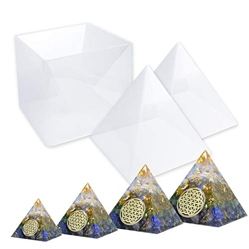 LET'S RESIN Pyramid Molds, Large Silicone Pyramid Molds, Resin Silicone Molds for DIY Orgonite Orgone Pyramid, Orgonite Jewelry, Great for Paperweight, Home Decoration, etc (Height:15cm/5.9inch)