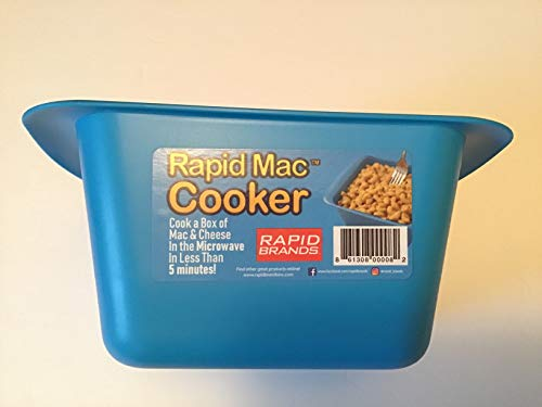 Rapid Mac Cooker | Microwave Macaroni & Cheese in 5 Minutes | Perfect for Dorm, Small Kitchen or Office | Dishwasher-Safe, Microwaveable, BPA-Free (Blue, 1-Pack)