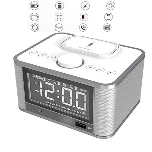 HYwot Radiowecker, Nicht Tickender Wecker Am Bett Mit USB-Ladegerät, Bluetooth-Lautsprecher, Qi-Wireless-Ladefunktion Und Dimmbarer LED-Anzeige - Stromversorgung Über Das Stromnetz,Weiß