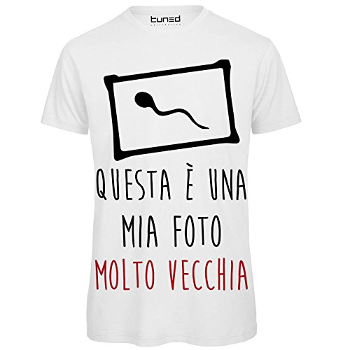 CHEMAGLIETTE! T-Shirt Divertente Uomo Maglietta 100% Cotone con Stampa Simpatica Vecchia Foto Tuned, Colore: Bianco, Taglia: M