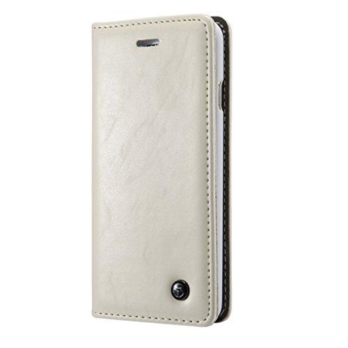 LOOKAY iPhone 6Plus / 6sPlus ケース 高級 レザー 手帳型 横開き カバー 革 マグネット式 カード収納 スタンド機能 アイフォン6s 6プラス 財布型 カバー 耐衝撃 ホワイト