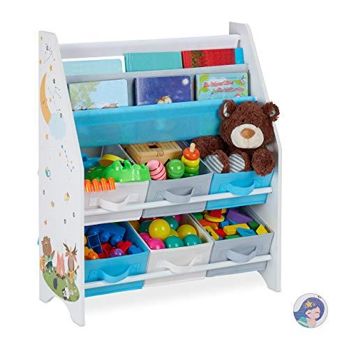 Relaxdays Kinderregal, Tiere Motiv, 6 Boxen, 2 Fächer, Kinderzimmer, Spielzeug Aufbewahrung HBT 74 x 62 x 31,5 cm, bunt, Lagerfeuer, 1 Stück