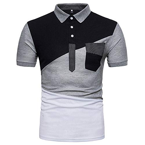 JPDD Polo Shirt Mens Summer Lapel Short Sleeve Polo Shirt Clothing Tops Fashion Patchwork Slim Fit Sport T Shirt Tees Basic Men Polo Shirts Casual Lapel Tops Button Down Blouse Tee T-Shirts
