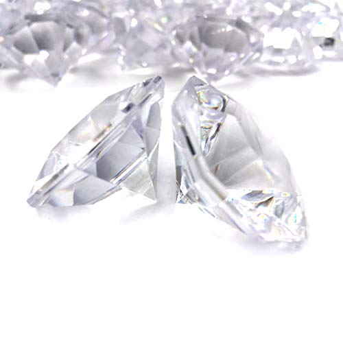 Pkg of 24 Clear 25 Carat Acrylic Diamonds with Super Big Bling - Vase Fillers or Wedding Bridal Shower Party Table Confetti Decorations (Basic pack)