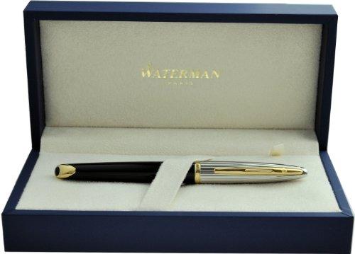 ウォーターマン 万年筆 F 細字 カレン デラックス ブラック&シルバーGT S2228142 正規輸入品