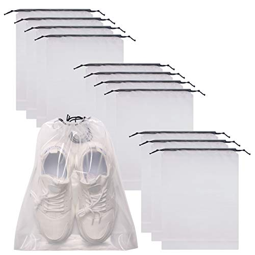 12 Pack Portable Transparent Shoe Bags for Travel Large Clear Shoes Pouch Storage Organizer with Drawstring for Men and Women