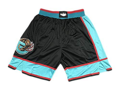YUHJ Camiseta de Baloncesto clásica para Hombre, Adecuada para los Pantalones de Pelota Bordados de los Grizzlies, Bolsillo de Red, Pantalones Deportivos Bordados densamente Retro L Green
