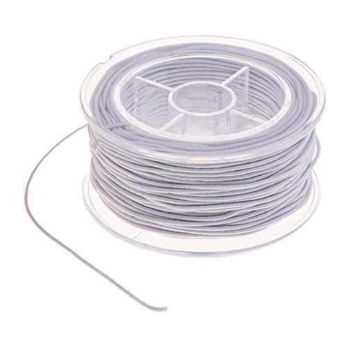 harayaa 30M Hilo Elástico Blanco Cuerda Elástica Estiramiento Rebordear Cordón de Alambre