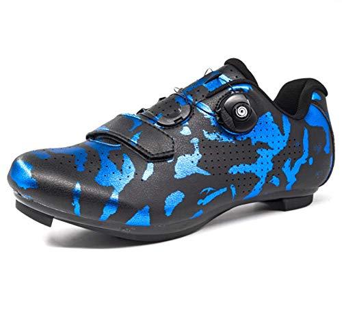 HMNS Zapatillas de Bicicleta para Hombres Racing Cycling Zapatillas de Goma Suela especializada MTB Shoes Highway Mountain Shoes Bloqueo Spinning Shoe Pedal Set Universal,Azul,EU42