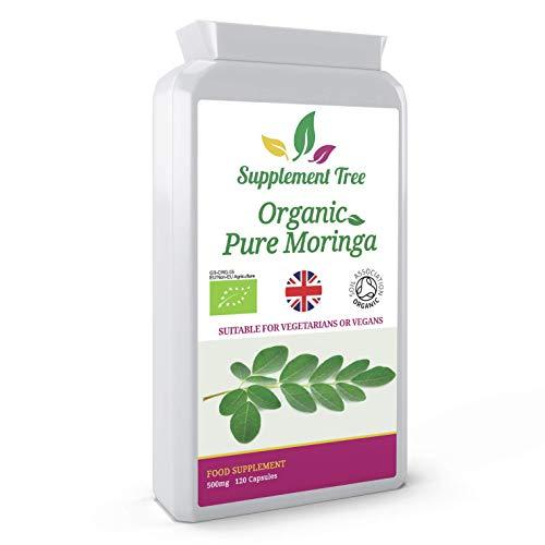 Organic Moringa Oleifera 500mg 120 Capsules | 100% Pure & Non-GMO | Soil Association Certified Organic | Suitable for Vegans & Vegetarians