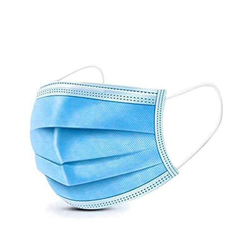 50 Stück Einweg Masken, Masken mundschutz 3-lagig, Schützt vor Staub, Atmungsaktiv, medizinisch schön, Unisex, Einweg-Ohrschlaufen, Blau (50 Pcs)