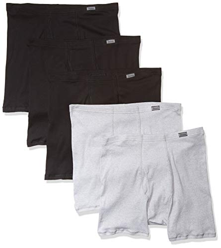 Hanes Men's Comfort Soft Boxer Briefs, X-Large, Black and Gray, 5-Pack