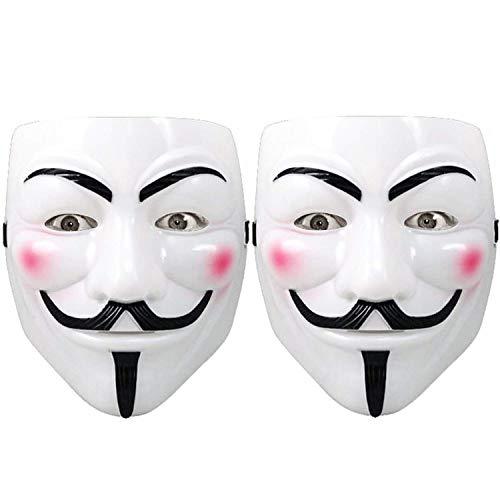 JimY Mask for Costume Kids - 2 Pack White Anonymous Face Masks for Halloween V for Vendetta DIY Toy Head Mask