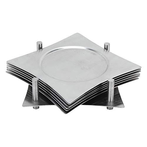 Zap Impex Set di 6 sottobicchieri quadrati con supporto in acciaio inossidabile per evitare macchie e graffi da succhi, bicchieri, barrette, tazze da caffè, tazze