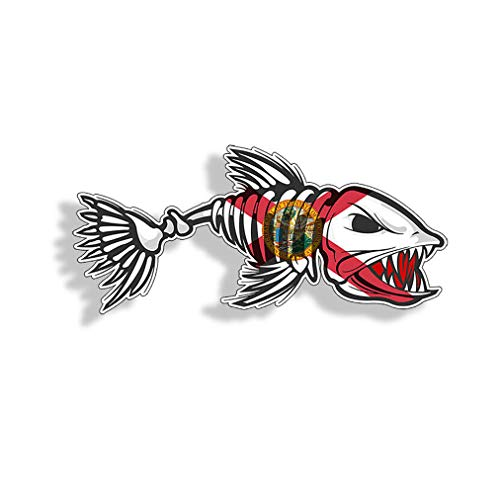 Florida Bonefish Sticker Printed Vinyl FL Bone Fish Decal Fishing Car Truck Boat Window Bumper Decal Graphic Decal Stickers for Laptop Tumblers Perfect for Phone Water Bottle Vehicles (5 Pcs/Pack)
