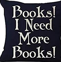 Book Lover Reading Book Club Books I Need More Books Black Background Cotton Linen Throw Pillow Case Cushion Cover Home Of...
