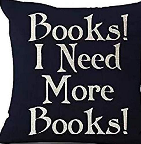 Queen's designer Book Lover Reading Book Club Books I Need More Books Black Background Cotton Linen Decorative Throw Pillow Case Cushion Cover Square 18
