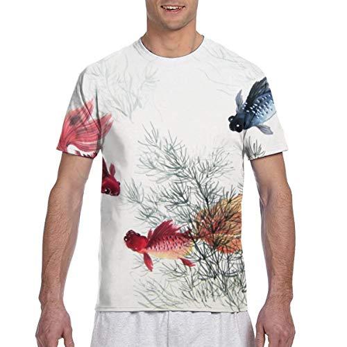 Zhgrong Camisetas de Hombre Pintura de Tinta China Camisetas de Manga Corta atléticas para Hombre Camiseta con Cuello Redondo