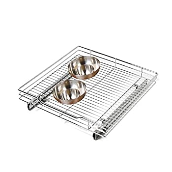Smart Design 1-Tier Shelf Pull-Out Cabinet Organizer - Extra Large - Roll-Out Extendable Sliding Drawer - Steel Metal - Kitchen  20 In x 21-40  [Chrome]