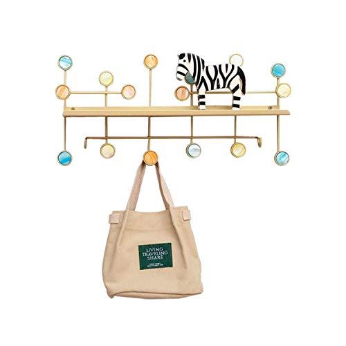 HJW Praktische opbergrek Handgemaakte Hangende Entryway Plank met Haken Goud, Metalen Wandmontage Opbergkasten Kapstok voor Open Haard Entree Woonkamer Display 1Huiyang-01020, Large