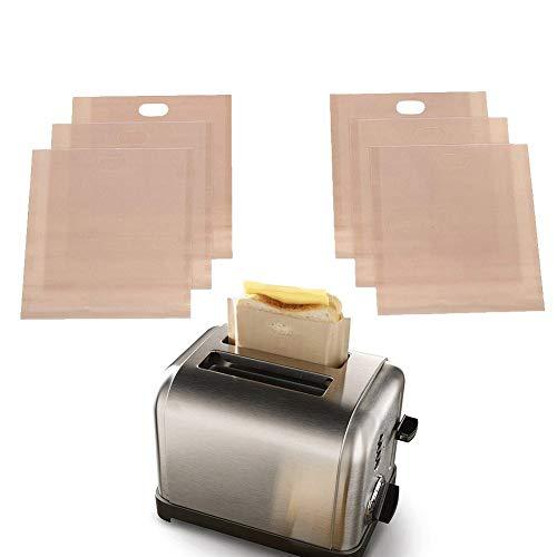 Toasterbeutel, wiederverwendbar, für gegrillte Käse, Sandwiches, Toaster, Premium-Qualität, Teflon-Toaster-Beutel für Toaster, Mikrowelle oder Grill, mittlere Größe, 6er-Set