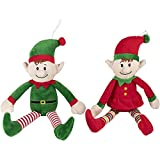 Elf Plush Toys, Christmas Stuffed Animal in 2 Colors (2 Pack)