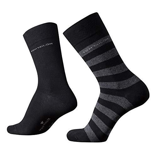 TOM TAILOR Herren Socken New Stripe black Doppelpack schwarz gestreift + uni, Size:43-46