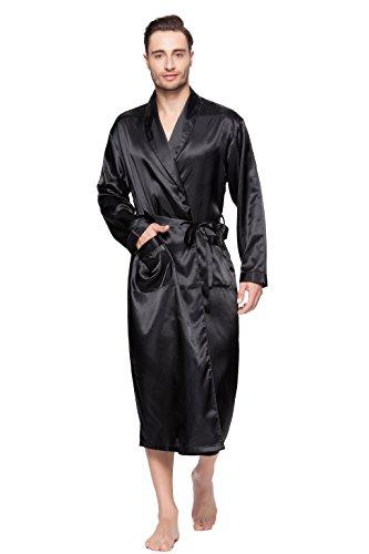 Lavenderi Mens Silky Satin Lounge Robe, Long Lightweight Sleepwear (2XL, Black)