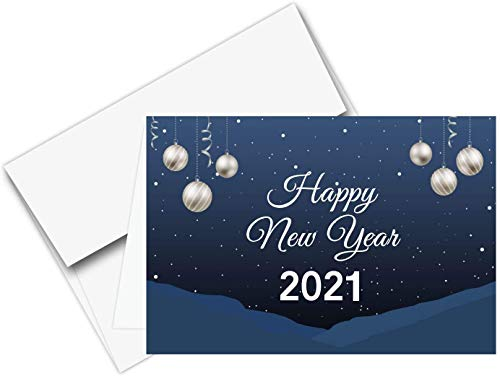 2021 Happy New Year – Blue Holiday Greetings Fold Over Cards & Envelopes, for Christmas and New Yrs Gifts and Presents | 25 Cards and 25 Envelopes per Pack | 5 x 7' Inches When Folded
