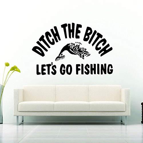Pegatinas de pared Cotizaciones para el dormitorio, vamos a pescar Caña de pescar Divertido cartel Obras de arte Puerta Calcomanía acrílica Calcomanías extraíbles Etiqueta para sala de estar 57x37cm