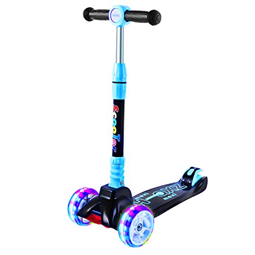 SULIVES 3 Wheel Scooter for Kids Ages 2-12 - Height Adjustable, Back Wheel Brake, Extra-Wide Deck with 4 Light-Up Wheels, Best Toy Gifts for Boys and Girls Toddler (Blue)